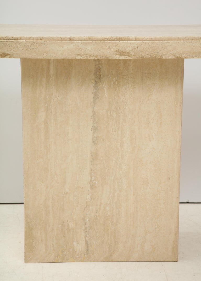 1970s Mid-Century Modern Italian Travertine Console In Good Condition For Sale In New York City, NY
