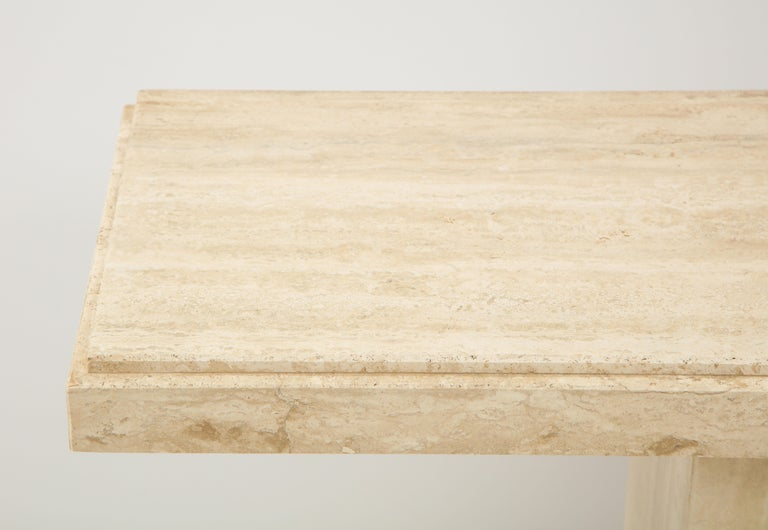 Late 20th Century 1970s Mid-Century Modern Italian Travertine Console For Sale