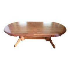 1970s Mid-Century Modern Pedestal Tiger Oak Coffee Table