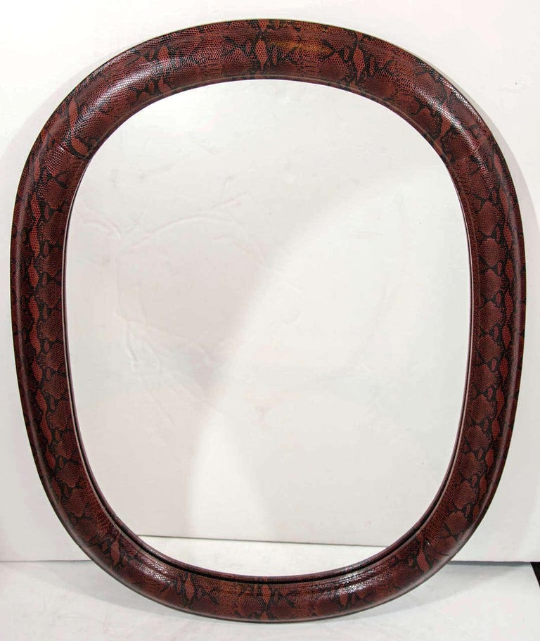 American 1970s Mid-Century Modern Red Python Embossed Leather Mirror For Sale
