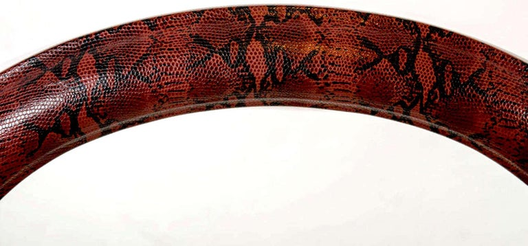 Hand-Carved 1970s Mid-Century Modern Red Python Embossed Leather Mirror For Sale