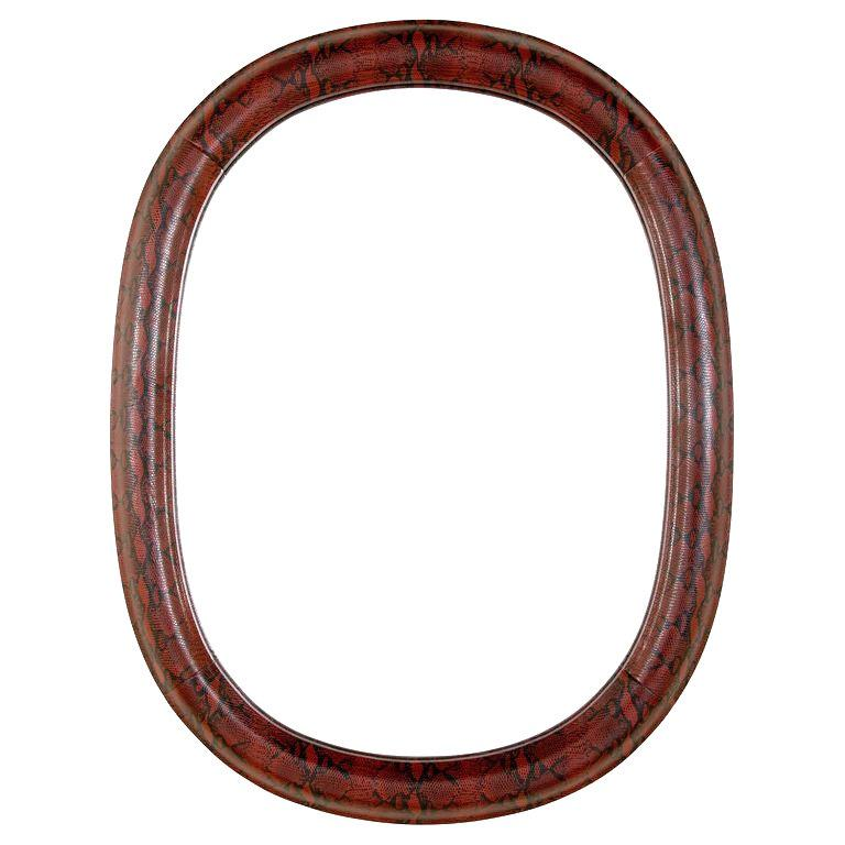 1970s Mid-Century Modern Red Python Embossed Leather Mirror For Sale