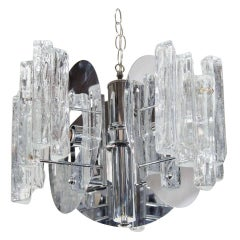 1970s Mid-Century Modern Sculptural Ice Glass Chandelier by Salviati