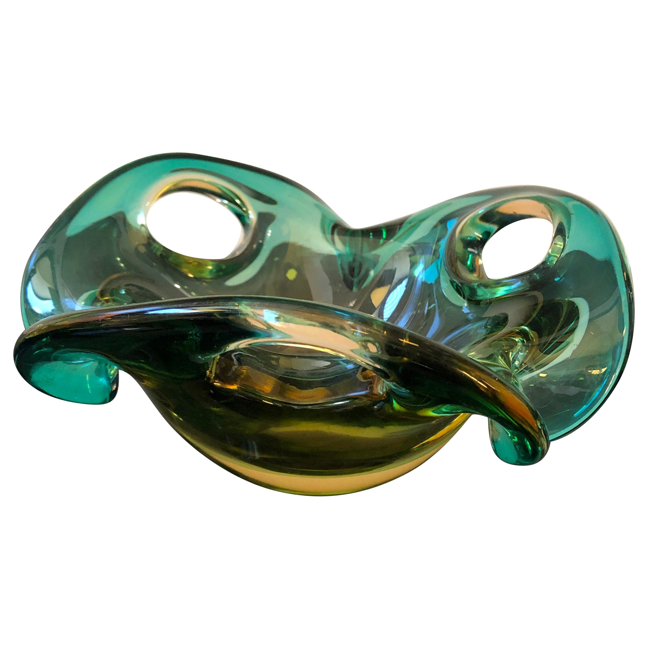 1970s Mid-Century Modern Sommerso Murano Glass Bowl by Seguso