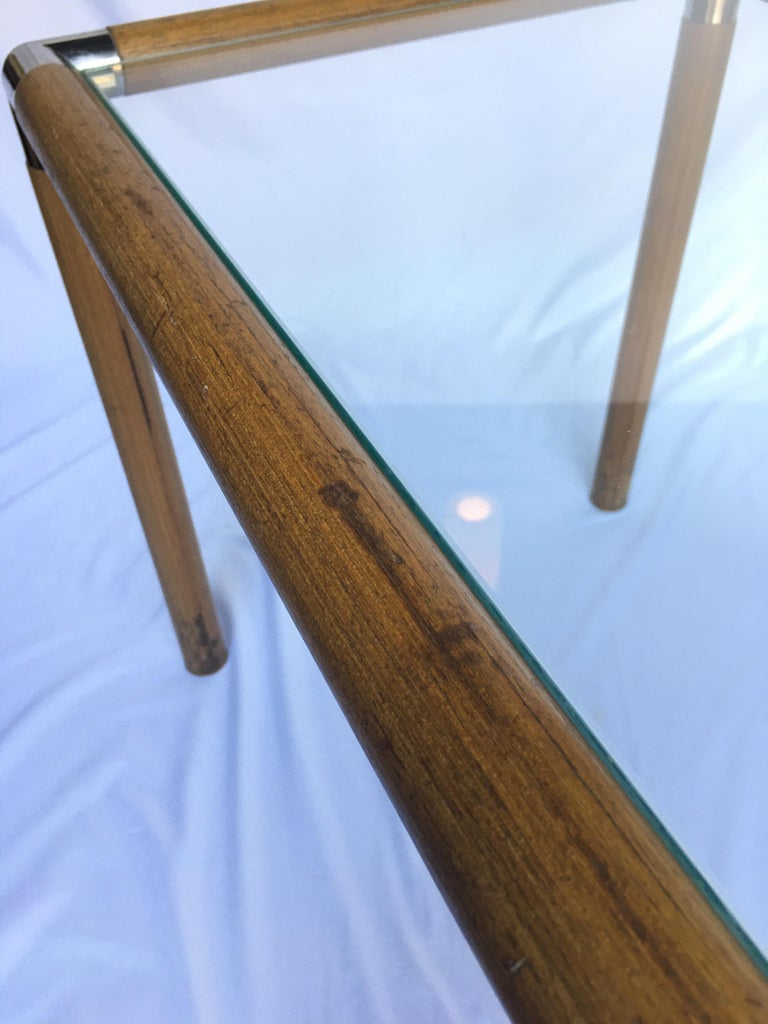 Late 20th Century 1970s Mid-Century Modern Tubular Wood and Chrome Glass Side End Table For Sale