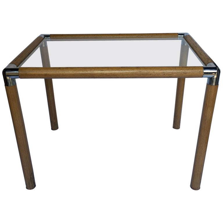 1970s Mid-Century Modern Tubular Wood and Chrome Glass Side End Table For Sale