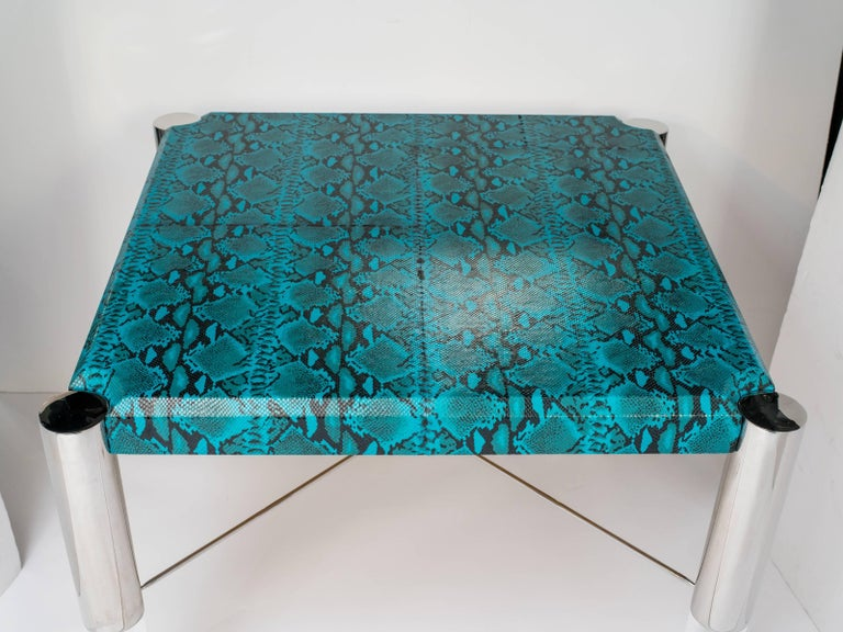 American 1970s Mid-Century Modern Turquoise Snakeskin Game Table For Sale
