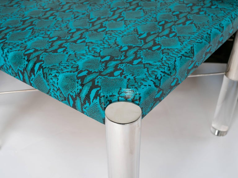 1970s Mid-Century Modern Turquoise Snakeskin Game Table In Good Condition For Sale In Stamford, CT