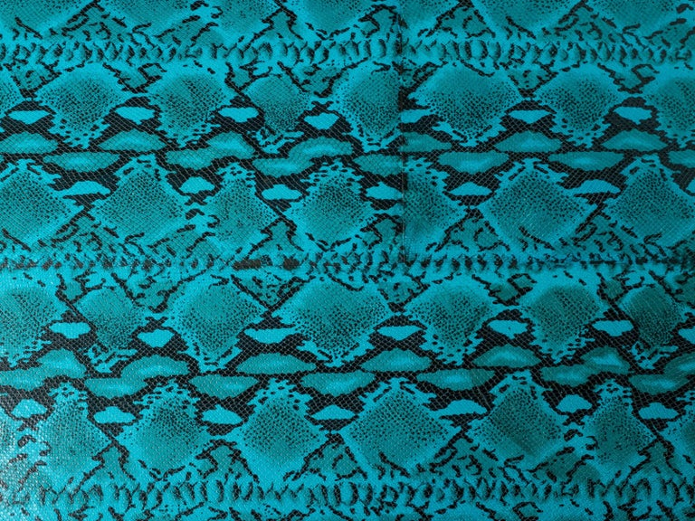 Late 20th Century 1970s Mid-Century Modern Turquoise Snakeskin Game Table For Sale