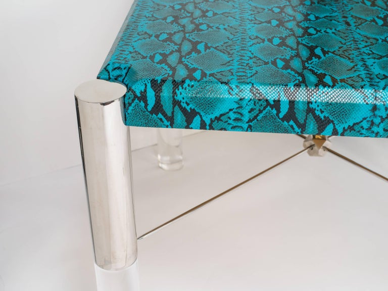 1970s Mid-Century Modern Turquoise Snakeskin Game Table For Sale 1