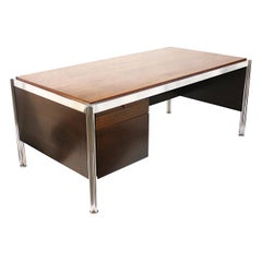 1970s Mid-Century Modern Walnut and Aluminum Executive Desk by George Ciancimino