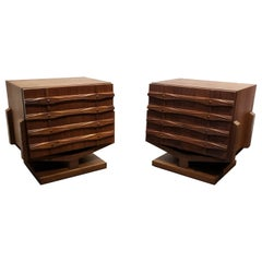 1970s Mid-Century Modern Walnut Sculptural Nightstands, a Pair