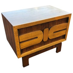 1970s Mid-Century Modern Wooden Nightstand or End Table