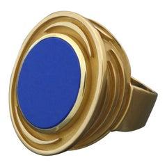 1970s Mid-Century Modernist Lapis Lazuli Gold Gents Men's Signet Ring