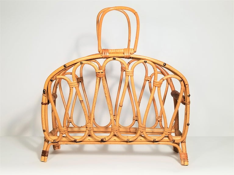 Franco Albini inspired rattan magazine rack, 1970s midcentury.