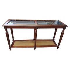 1970s Mid Century Two Tier Walnut Glass Faux Cane Console Sofa Table