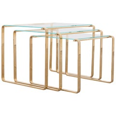 1970s Midcentury Brass and Glass Nesting Coffee Tables, Set of 3