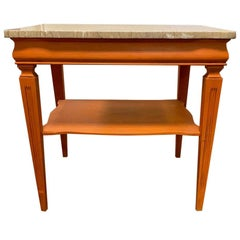 1970s Midcentury Orange Painted End Table with Marble Top