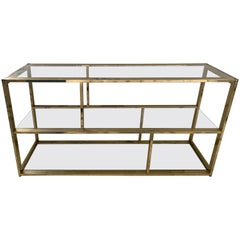 1970s Milo Baughman Brass and Glass Low Bookcase