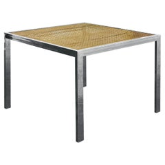 1970s Milo Baughman Cane and Chrome Glass Dining Table