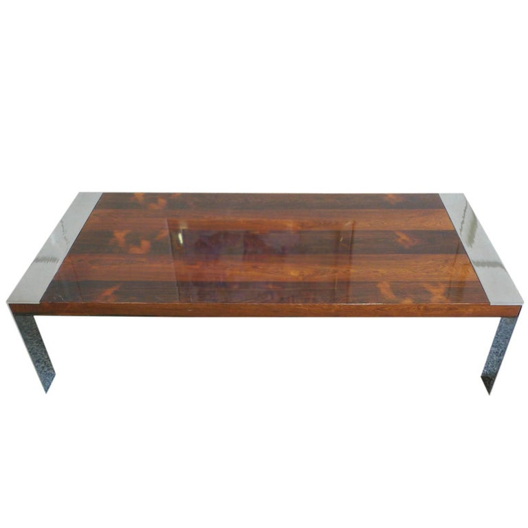 1970s Milo Baughman Style Chrome and Rosewood Coffee Table