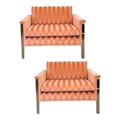 1970s Milo Baughman Chrome and Mohair Club Lounge Chairs, a Pair