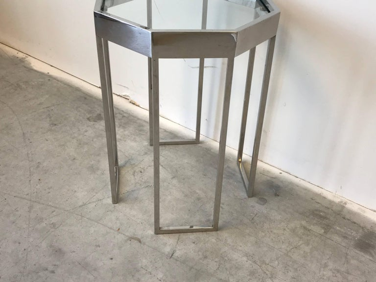 1970s Milo Baughman Chrome Octagonal Cocktail Side Table In Good Condition For Sale In Richmond, VA