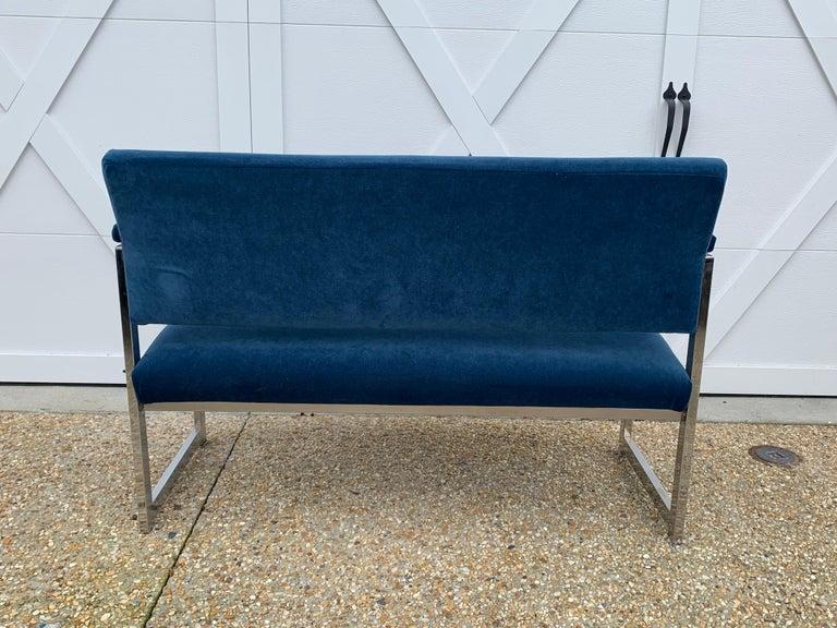 Modern 1970s Milo Baughman Chrome Settee in Blue Velvet For Sale