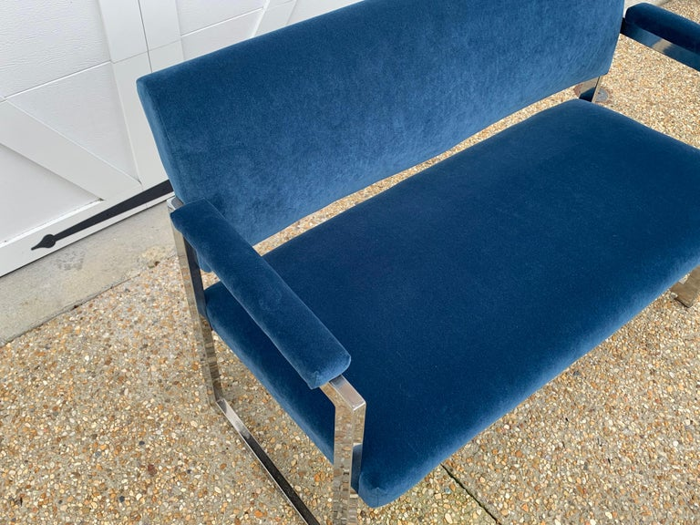 Polished 1970s Milo Baughman Chrome Settee in Blue Velvet For Sale