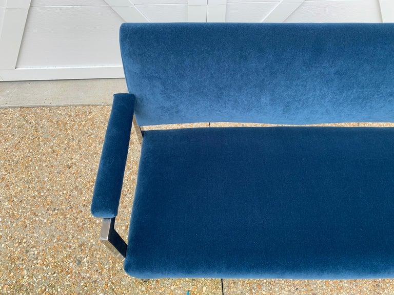 1970s Milo Baughman Chrome Settee in Blue Velvet In Good Condition For Sale In Richmond, VA
