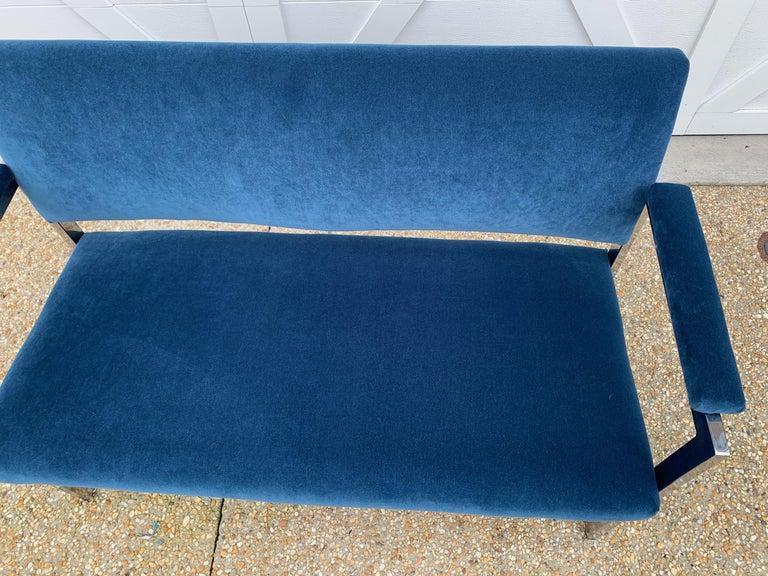 20th Century 1970s Milo Baughman Chrome Settee in Blue Velvet For Sale