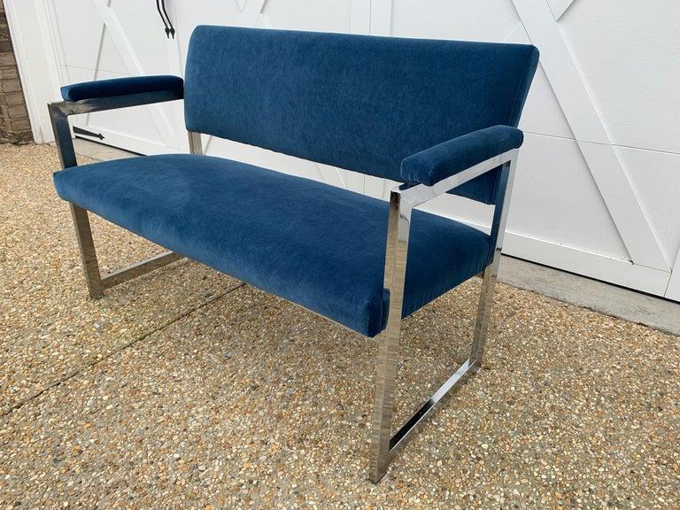 1970s Milo Baughman Chrome Settee in Blue Velvet For Sale 1