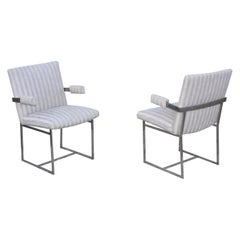 1970's Milo Baughman Chrome Side Chairs
