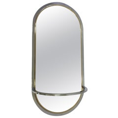 1970s Milo Baughman Oval Chrome & Brass Mirror with Console for DIA