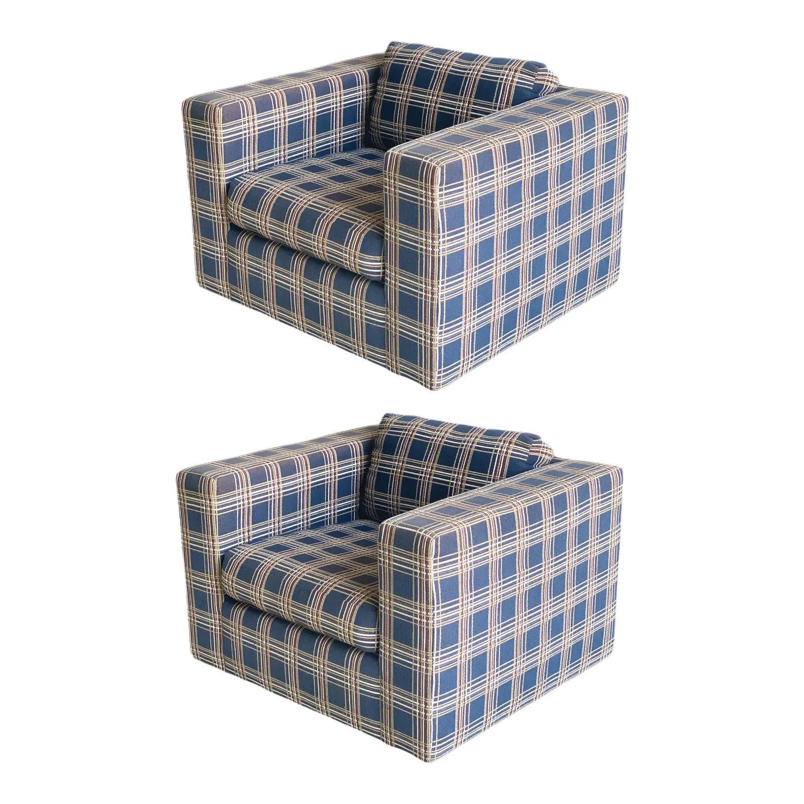 1970s Milo Baughman for Thayer Coggin Cube Lounge Chairs, a Pair