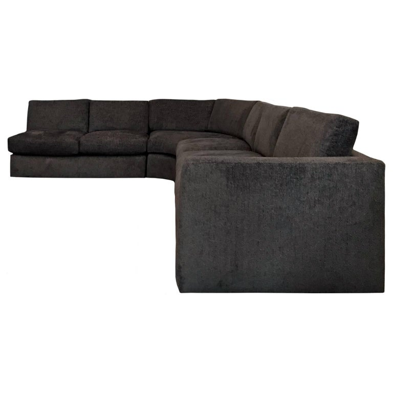 Sectional sofa upholstered in deep brown chenille by Milo Baughman, USA, 1970s.