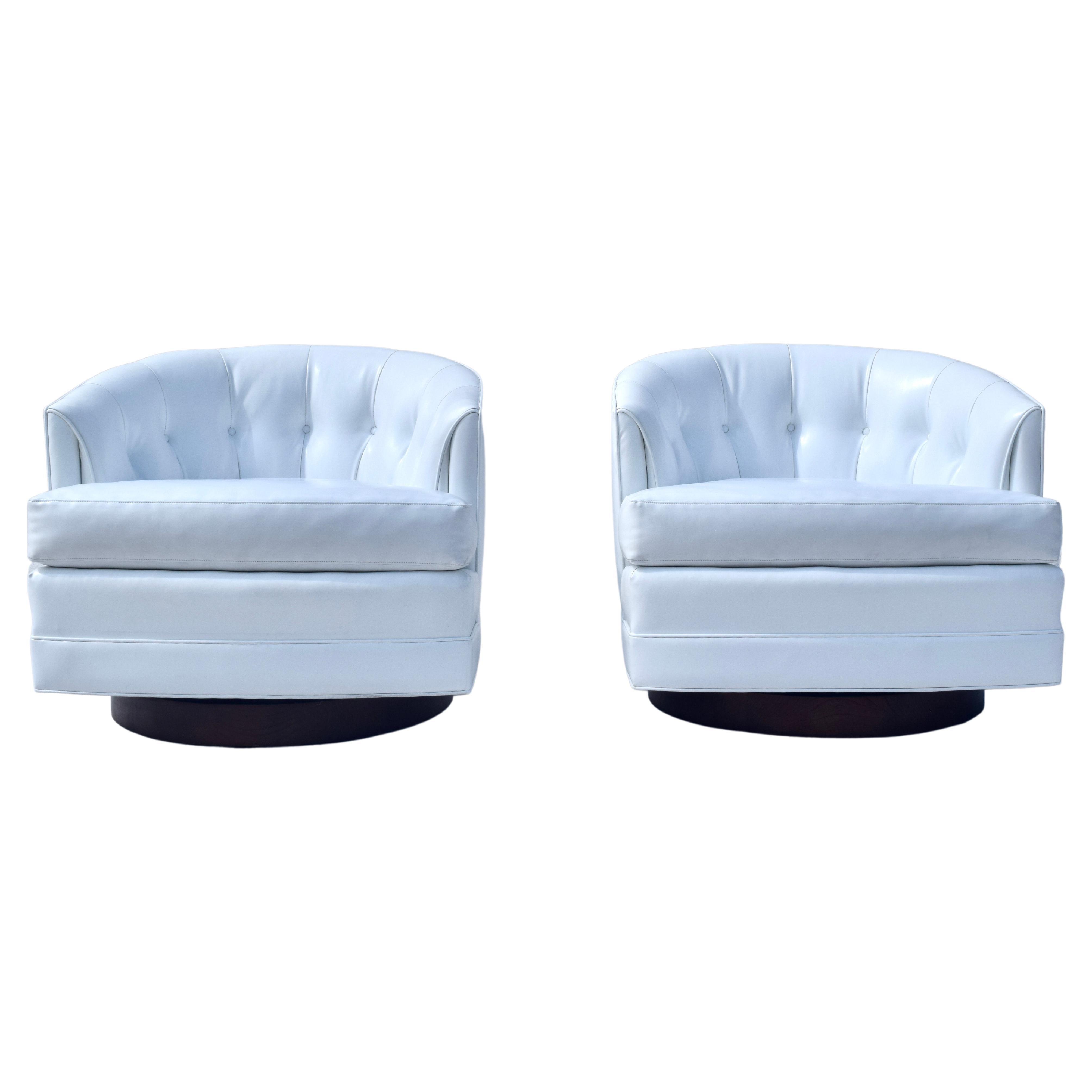 1970's Milo Baughman Swivel Lounge Chairs
