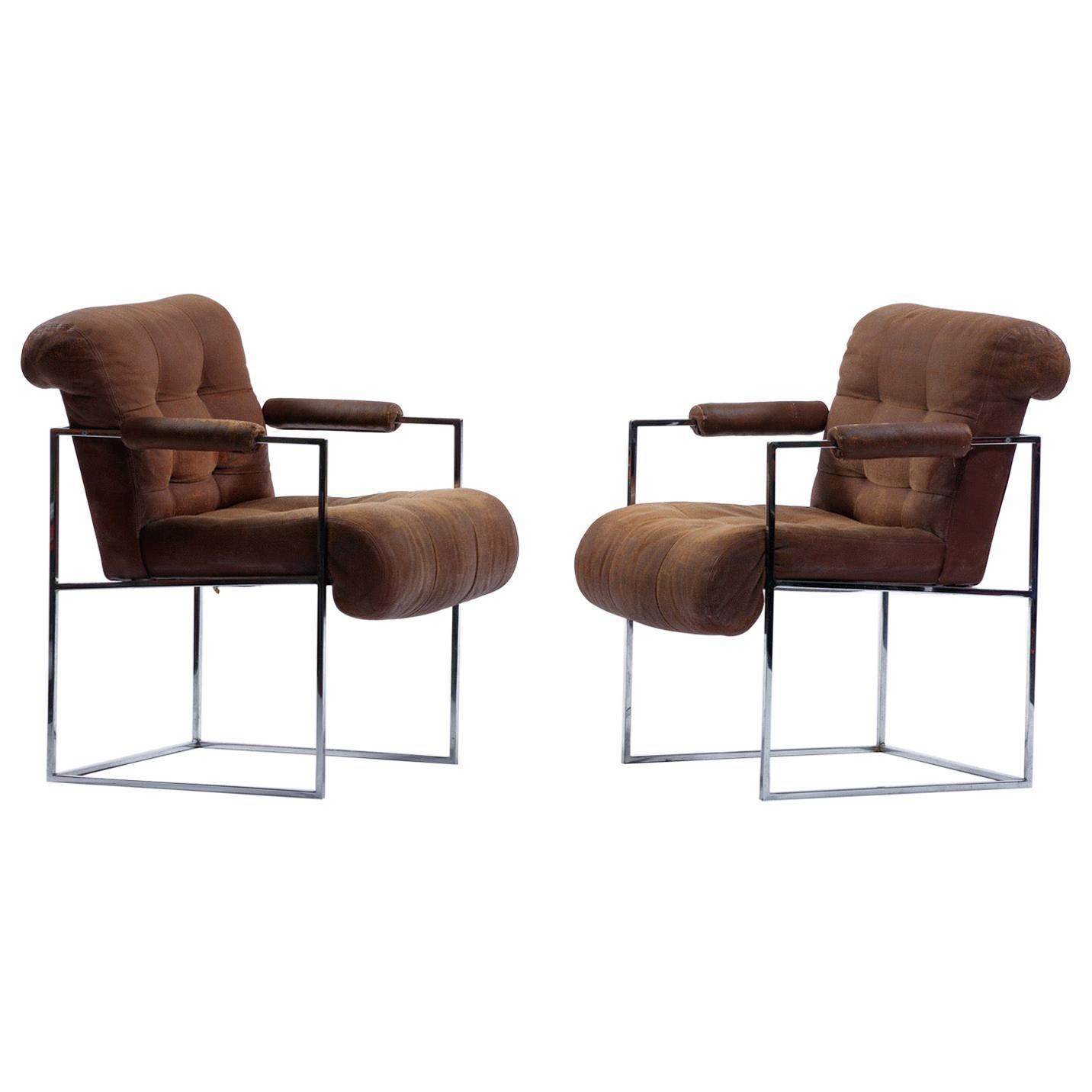 1970s Milo Baughman Thinline Armchairs for Thayer Coggin