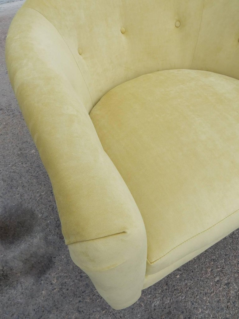 Pair of 1970s Milo Baughman Style Velvet Swivel Lounge Chairs For Sale 2
