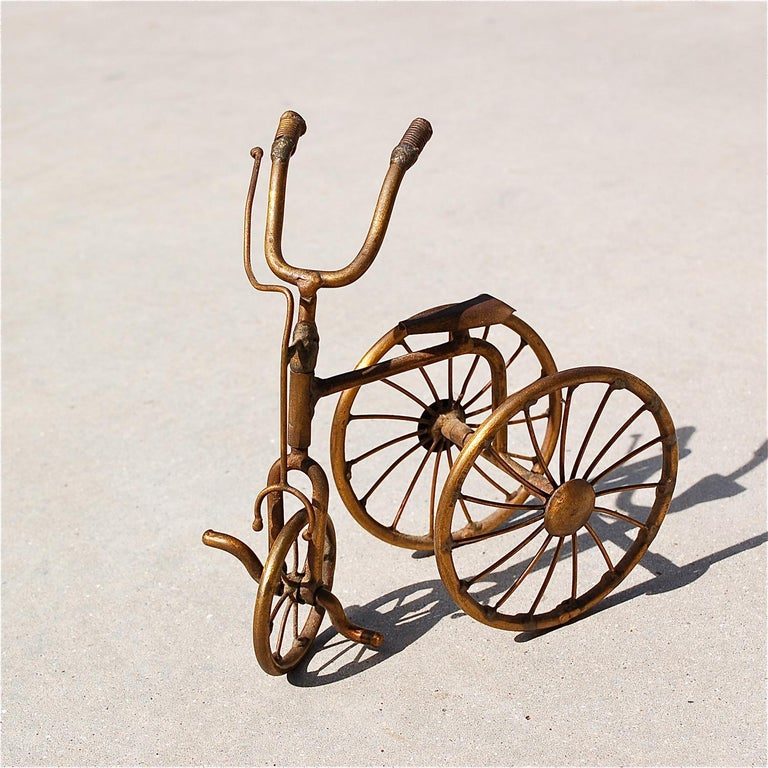 Post-Modern 1970s Miniature Brass Tricycle Signed by Belgian artist D'Haeseleer For Sale
