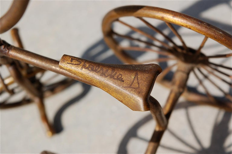 20th Century 1970s Miniature Brass Tricycle Signed by Belgian artist D'Haeseleer For Sale