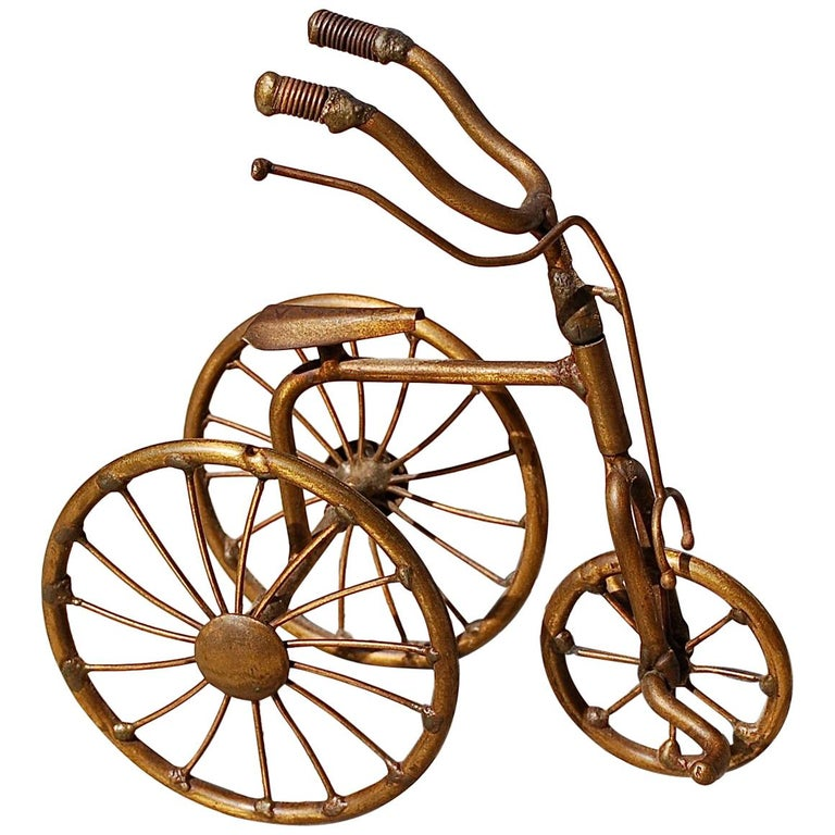 1970s Miniature Brass Tricycle Signed by Belgian artist D'Haeseleer For Sale