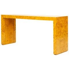 1970s Minimalist Burl Wood Console or Sofa Table
