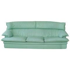 1970s Mint Leather 3 Seater Sofa by Monaco Furniture Nicoletti Italia