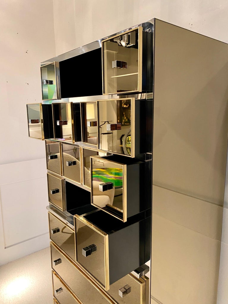 1970s Mirrored Cabinet by Michel Pigneres For Sale 3