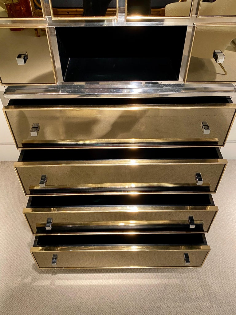 1970s Mirrored Cabinet by Michel Pigneres For Sale 8