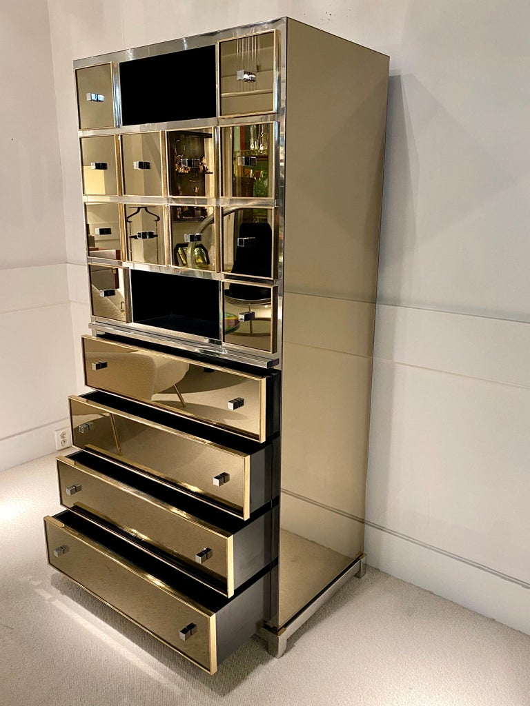 1970s Mirrored Cabinet by Michel Pigneres For Sale 9