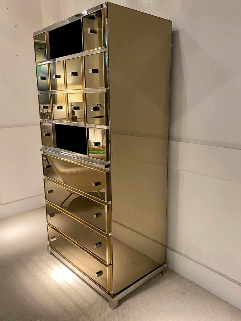 Modern 1970s Mirrored Cabinet by Michel Pigneres For Sale