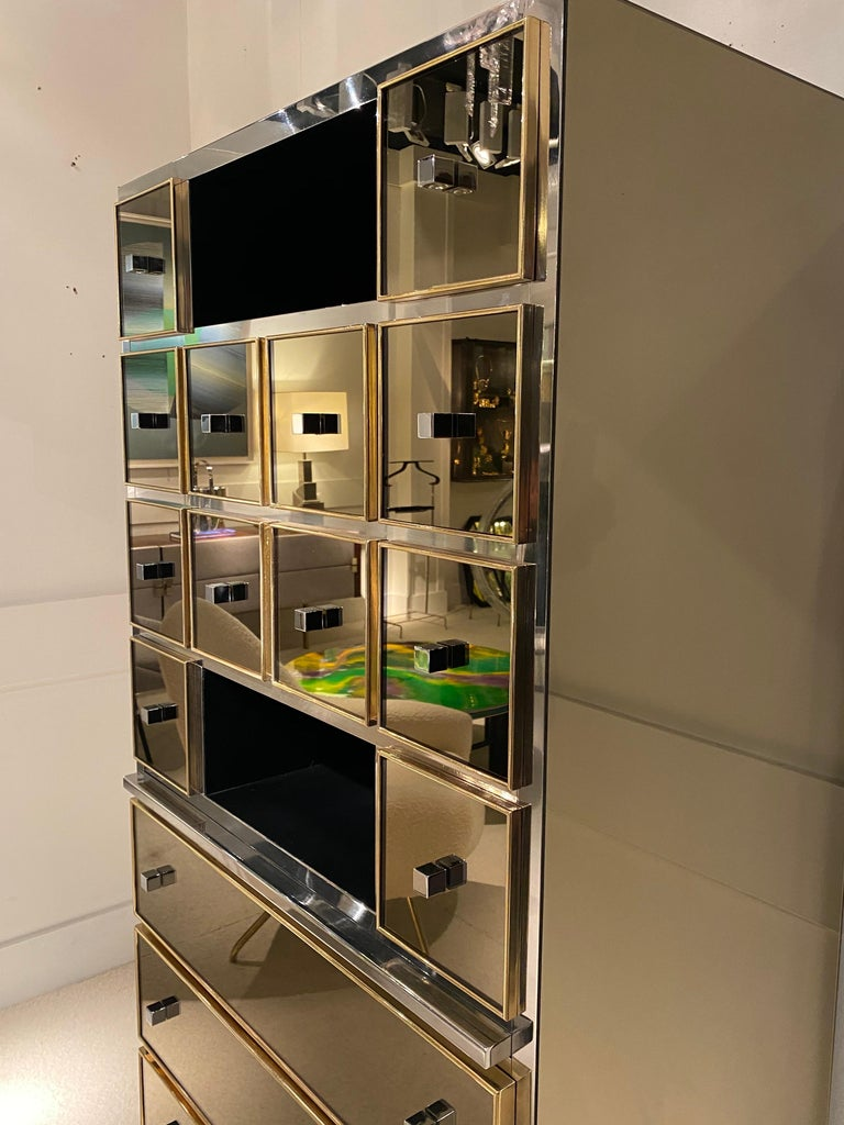 French 1970s Mirrored Cabinet by Michel Pigneres For Sale