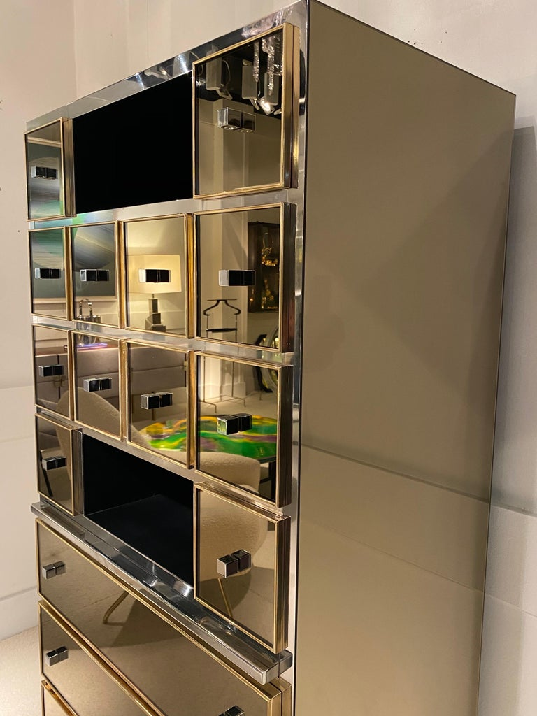 1970s Mirrored Cabinet by Michel Pigneres In Excellent Condition For Sale In Saint-Ouen, FR